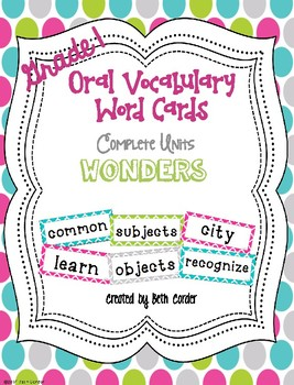 McGraw-Hill Reading Wonders Common Core 1st Grade Oral Voc
