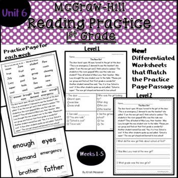 McGraw Hill Wonders First Grade Practice Unit 6 Weeks 1-5