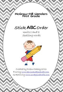 McGraw-Hill Wonders First Grade Stick ABC Order Units 1-2