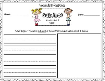 Wonders First Grade Vocabulary Response Unit 1: Getting to Know Us
