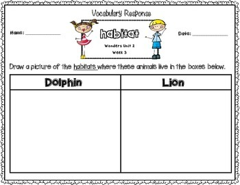 Wonders First Grade Vocabulary Response Unit 2: Our Community