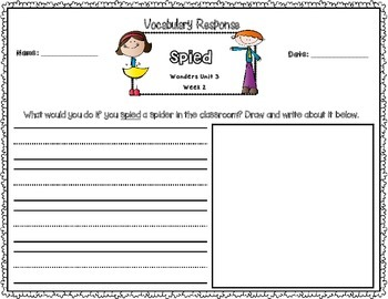 Wonders First Grade Vocabulary Response Unit 3: Changes Over Time