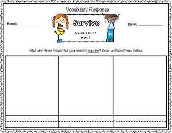 Wonders First Grade Vocabulary Response Unit 4: Animals Everywhere