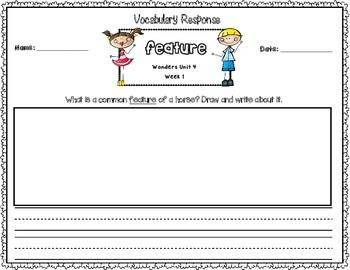 Wonders First Grade Vocabulary Response Unit 4: Animals Everywhere