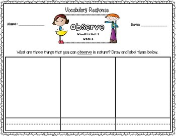 Wonders First Grade Vocabulary Response Unit 5: Figure It Out