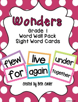McGraw-Hill Reading Wonders Common Core 1st Grade Word Wall Sight Words