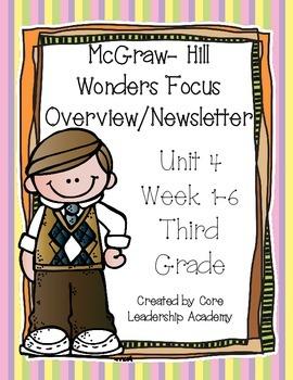 McGraw ~Hill Wonders Focus Overview/ Newsletter~ Unit 4 Week 1-6