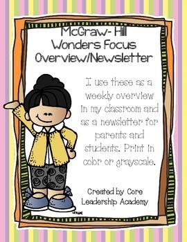 McGraw ~Hill Wonders Focus Overview/ Newsletter~ Unit 5 Week 1-6