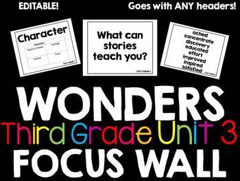 McGraw Hill Wonders Focus Wall Third Grade Unit 3