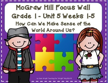 McGraw Hill Wonders Grade 1 Unit 5 Weeks 1-5 focus wall for display