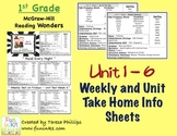 McGraw Hill Wonders Grade 1 Weekly and Unit Home Info Sheets for Units 1-6