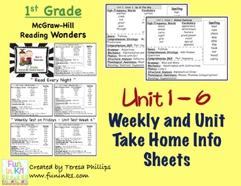 McGraw Hill Wonders Grade 1 Weekly and Unit Home Info Shee