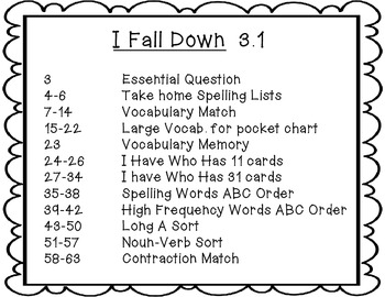 McGraw-Hill Wonders Grade 2 I Fall Down {8 Literacy Activities}