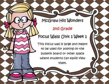 McGraw Hill Wonders Grade 2 Unit 1 Week 1 focus wall for display