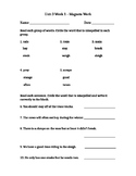 McGraw-Hill Wonders, Grade 2, Unit 3 Week 1, Spelling Test