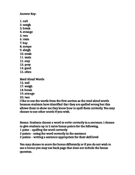 McGraw-Hill Wonders, Grade 2, Unit 3 Week 1, Spelling Test