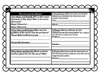 McGraw-Hill Wonders Lion & the Mouse U0W1 Comprehension Booklets Bundle NO PREP