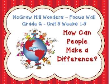 McGraw Hill Wonders Grade 2 Unit 5 Weeks 1-5 Bundle focus wall for display