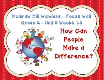 McGraw Hill Wonders Grade 2 Unit 5 Weeks 1-5 Bundle focus wall for display