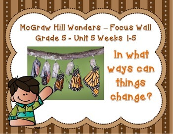 McGraw Hill Wonders Grade 5 Unit 5 Weeks 1-5 Bundle focus