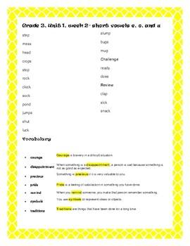 McGraw Hill Wonders Grade 3 Spelling and Vocab  Unit 1