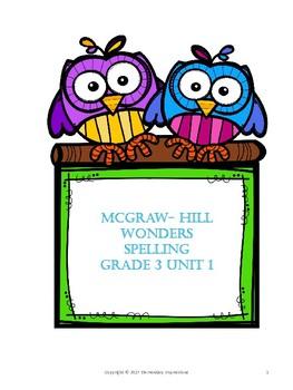 McGraw Hill Wonders Grade 3 Unit 1 Week 1 Spelling Journal