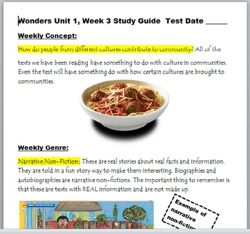 McGraw-Hill Wonders 3rd Gr, Unit 1, Week 3 Power Point and Study Guide Pack
