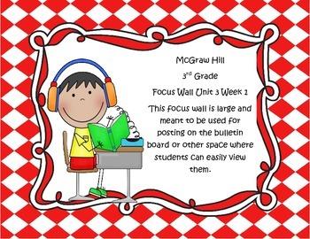 McGraw Hill Wonders Grade 3 Unit 3 Weeks 1-5  Bundle focus wall for display