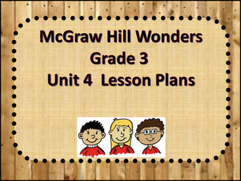 McGraw Hill Wonders Grade 3 Unit 4 Lesson Plans Weeks1-5