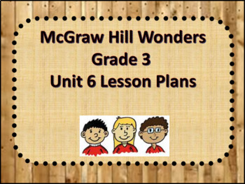 McGraw Hill Wonders Grade 3 Unit 6 Lesson Plans Weeks 1-5- Editable