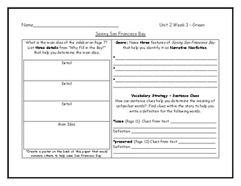 McGraw Hill Wonders Grade 4 Leveled Reader Graphic Organizers - Unit 2 Week 3