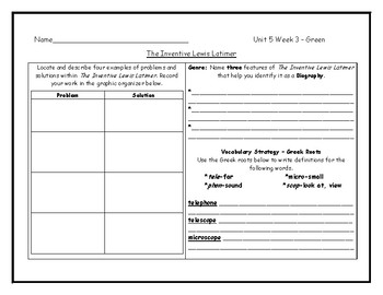 McGraw Hill Wonders Grade 4 Leveled Reader Graphic Organizers - Unit 5 Week 3