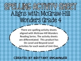 McGraw Hill Wonders Grade 4 Spelling Activities