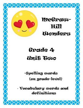 McGraw Hill Wonders Grade 4 Spelling and Vocab  Unit 2