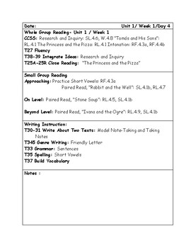 McGraw-Hill Wonders Grade 4 Unit 1 Lesson Plan Bundle Weeks 1-5