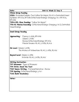 McGraw-Hill Wonders Grade 4 Unit 4 Week 2 Lesson Plans
