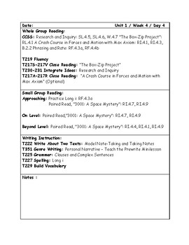 McGraw-Hill Wonders Grade 4 Unit 1 Week 4 Lesson Plans