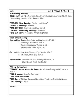 McGraw-Hill Wonders Grade 4 Unit 1 Week 5 Lesson Plans