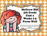 McGraw Hill Wonders Grade 4 Unit 1 Weeks 1-5 Bundle focus wall for display