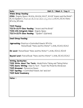 McGraw-Hill Wonders Grade 4 Unit 2 Week 4 Lesson Plans