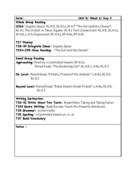 McGraw-Hill Wonders Grade 4 Unit 3 Week 1 Lesson Plans
