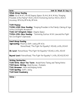 McGraw-Hill Wonders Grade 4 Unit 3 Week 3 Lesson Plans