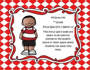 McGraw Hill Wonders Grade 4 Unit 3 Weeks 1-5  Bundle focus wall for display