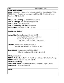 McGraw-Hill Wonders Grade 4 Unit 4 Lesson Plan Bundle Weeks 1-5