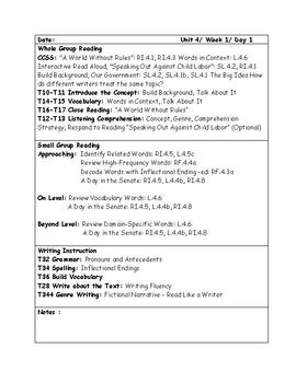 McGraw-Hill Wonders Grade 4 Unit 4 Week 1 Lesson Plans