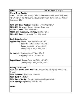 McGraw-Hill Wonders Grade 4 Unit 4 Week 4 Lesson Plans