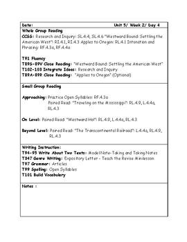 McGraw-Hill Wonders Grade 4 Unit 5 Week 2 Lesson Plans