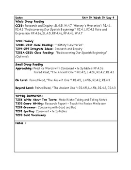 McGraw-Hill Wonders Grade 4 Unit 5 Week 5 Lesson Plans