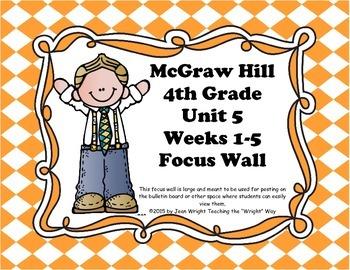 McGraw Hill Wonders Grade 4 Unit 5 Weeks 1-5  Bundle focus wall for display