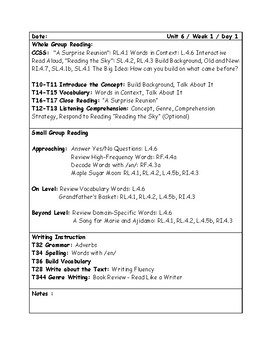McGraw-Hill Wonders Grade 4 Unit 6 Week 1 Lesson Plans